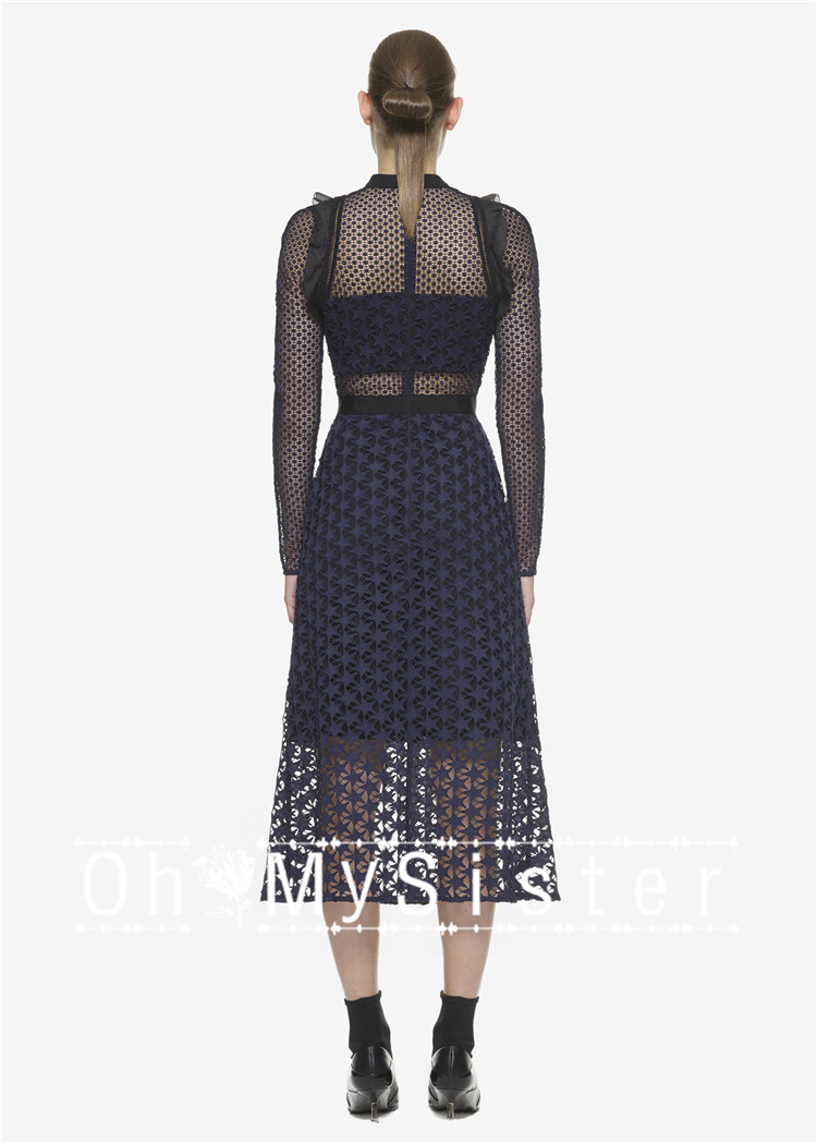 Long sleeve lace dress navy blue