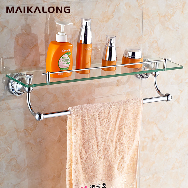 copper single tier bathroom accessories dressing table glass shelf fashion luxury gold plated - Bathroom Accessories Glass Shelf