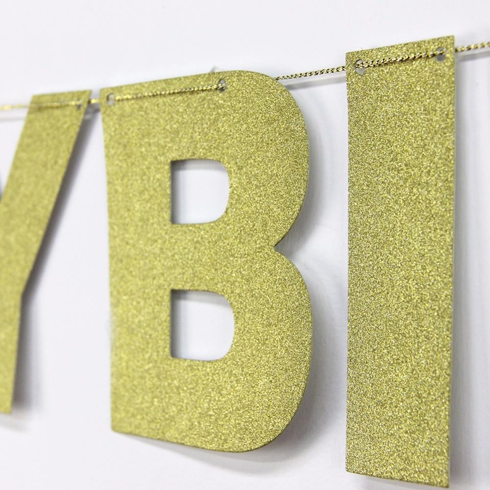 Die Goldene Glitter Pulver Geburtstag Brief Banner Kinder Birthday ...