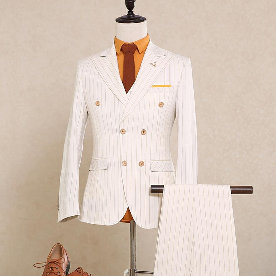 Online Buy Wholesale white double breasted suit from China white ...
