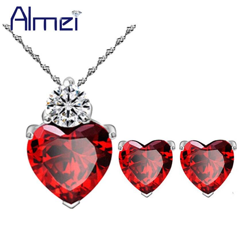 Almei 5%Off Dubai Silver Jewelry Sets With Red Purple Stones Women Wedding Love Heart CZ Zircon Earring Necklace Chain BME53