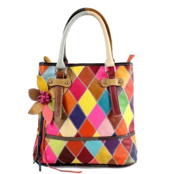 Colorful Quality Genuine Leather Handbags Las Patchwork Bag Designer Handbag Shoulder Bags Women Free Shipping