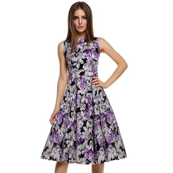 ACEVOG Women Dress Retro Vintage 1950s 60s Rockabilly Floral Swing Summer Dresses Elegant Bow-knot Tunic Vestidos Robe Oversize 15