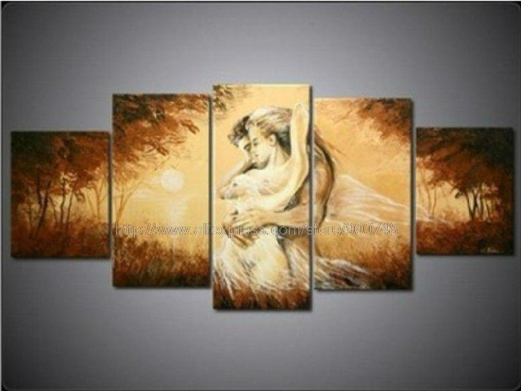 Pcs Set Wall Art People Black White And Red Decor Dream Brown Oil Painting On Canvas Picture By Texture Pictures Ha In Calligraphy From