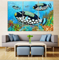 Wall Art HD Ocean colorful fish Print On Canvas Oil Paintings Home Decoration For Living Room canvas painting wall picture