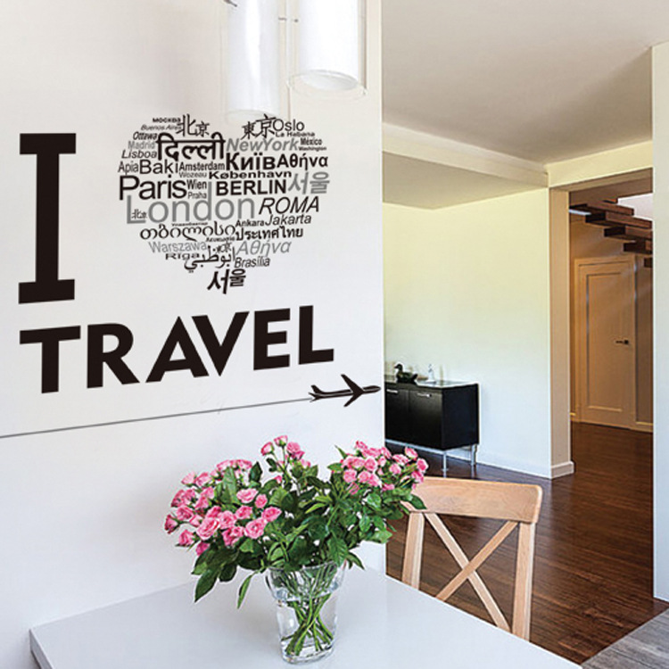I Love Travel Wall Art Mural Poster Decor Airplane Heart Shape English Words Wall Quote Decal Sticker Home Decor Wall Applique