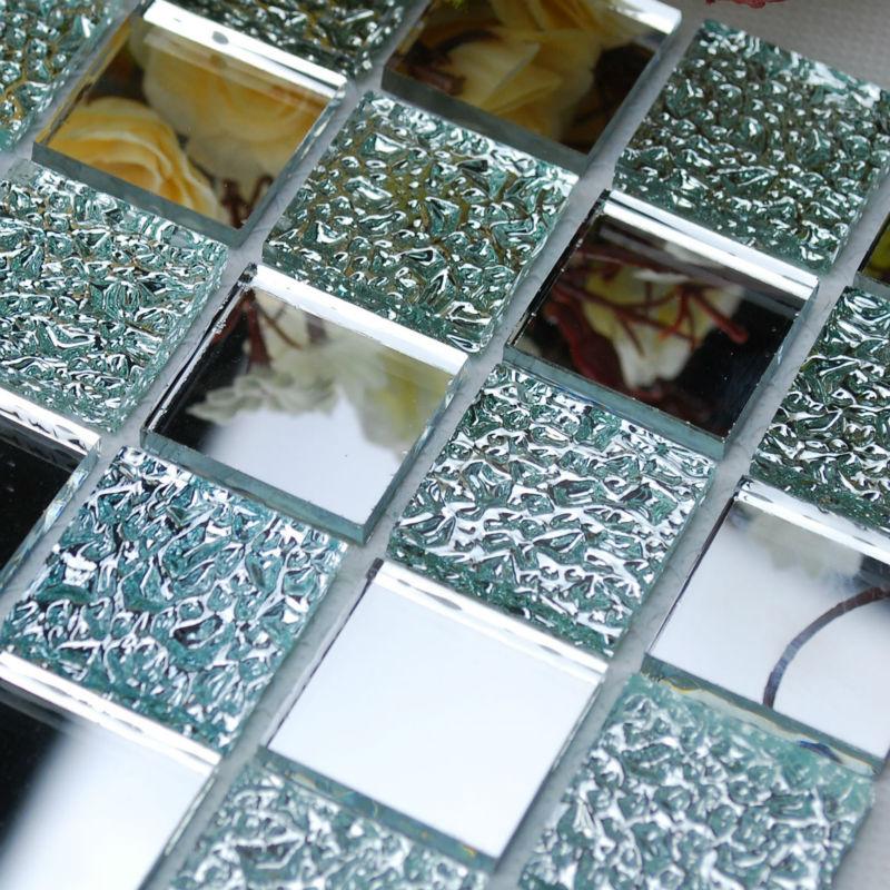 crystal glass backsplash kitchen tile mosaic design art mirrored wall stickers bathroom shower floor mirror tiles sheet kl931