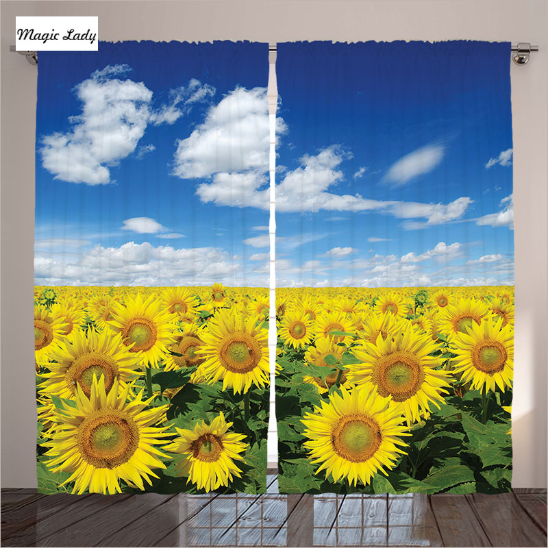 Curtains with flowers sunflower decor field sky clouds for Sunflower bedroom decor