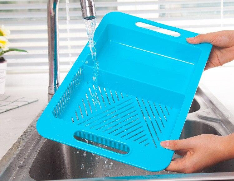 Multifunction Chopping Blocks Kitchen Drain Basket Chopping Non slip Frosted Antibacteria Kitchen Cutting Board