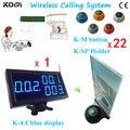 Sistema sem fio Chamada Garçom com certificação CE, um conjunto incluindo 22 botões de chamada e 1 número de exibição, Frete grátis