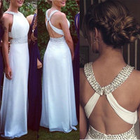 White A Line Chiffon Prom Dresses 2018 Long Halter Beading Evening Party Dress Custom Made robe de soiree Z65