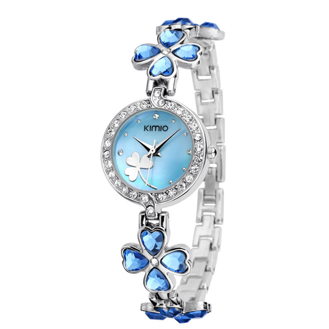 Kimio Brand Love Heart Crystal Strap Clover Bracelet Watch Inlay Rhinestone Wate