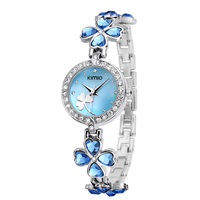 Kimio Brand Love Heart Crystal Strap Clover Bracelet Watch Inlay Rhinestone Waterproof Quartz Dress Watches Fashion