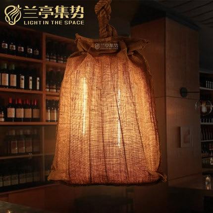 American Country Retro Metal Pendant Lamp Linen Shade Rope Clothing Shop Light Bar Light Free Shipping