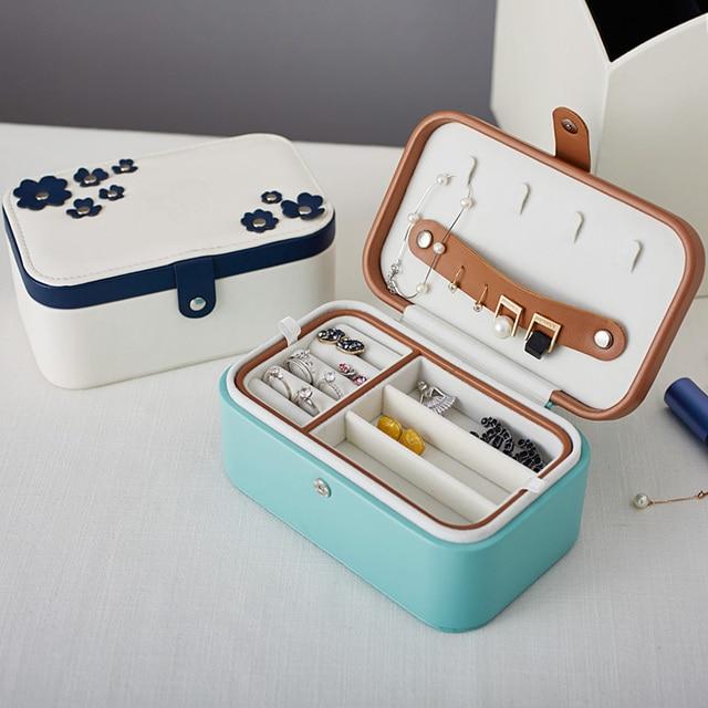 Trébol de cuatro hojas caja de joyas con espejo eoupean cuero joya bistratal diamante caja de almacenamiento 1 unidades envío libre