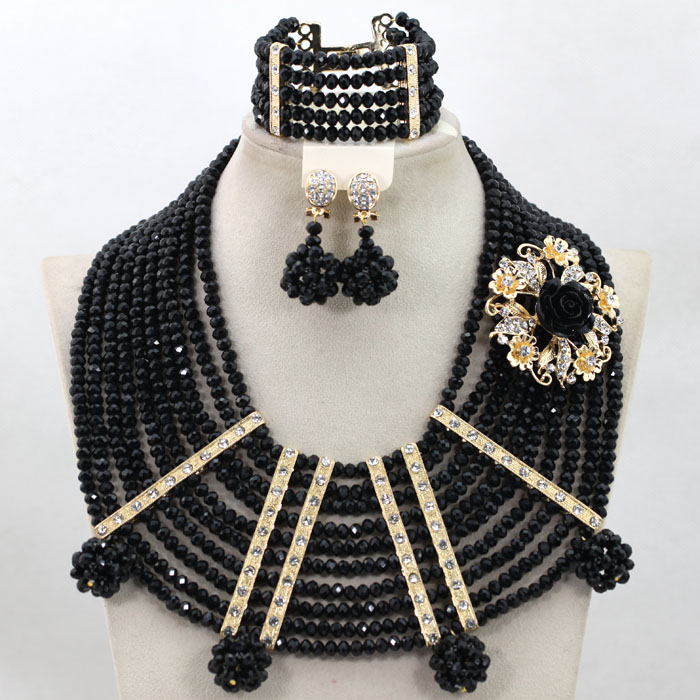 New Black African Wedding Beads Chunky Jewelry Set Gold Spacer Costume Necklace Set Hot Free Shipping WA826New Black African Wedding Beads Chunky Jewelry Set Gold Spacer Costume Necklace Set Hot Free Shipping WA826