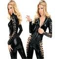 Gothic Punk Fetish Black Latex Catsuit Faux Leather Lace Up Costume PVC Catsuit Bodysuit Catwoman Jumpsuit