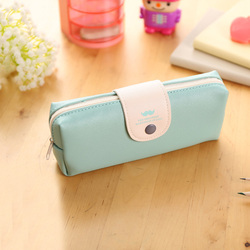 Fresh Solid Candy Color Mustache Pattern Pu Leather Pencil Case Bag Pen Bag For Girl Stationery Office school Supplies