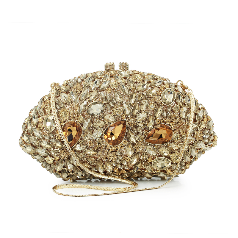 Fantaisie forme or métal or pierre soirée embrayage dur cased strass dames jour embrayage (8783A-G)
