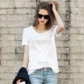 Moda puro algodão de manga curta estilo europeu das mulheres t-shirt 4 camisa da cor T feminina plus size T - camisas All jogo solto tops