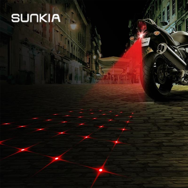 SUNKIA Cross-Star Pattern SUNKIA Motorfiets Mistlampen Motorfiets Laser Mistlamp Opwarmende Signaallampen
