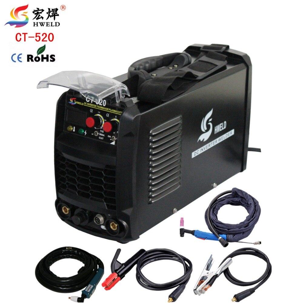 Portable Tig Welder Inverter Weld 3in1 Welding Machine Plasma Cutter CT520 TIG/MMA/CUT Multi use Machine Kaynak Makinesi Black