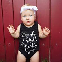 2017 Hot Selling Pop letters Roupa infantil Newborn Infant Baby Girl Boy Sleeveless Letter Romper Jumpsuit Outfits Black Clothes(China)