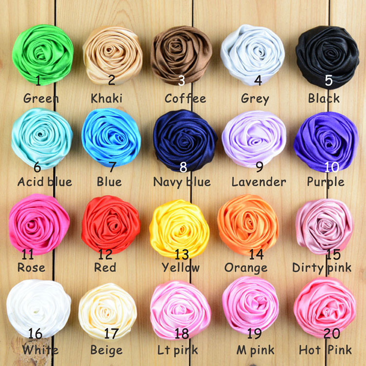 20pcs/lot  The new high quality handmade Mini manual rose buds flower 20color 1.6Inches 2g Diy children hair accessories от Aliexpress INT