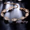 Mytys Cristal Oval Elo Da Cadeia de Malha de Arame Banhado A Ouro Pulseira de Malha com Lobster Claw Clasps Extender B943