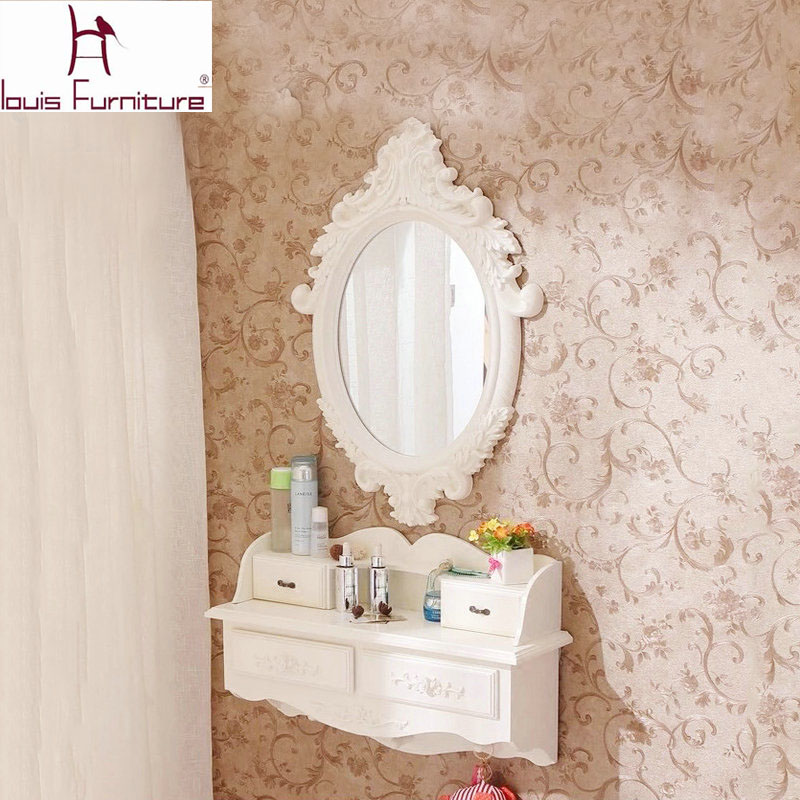 US $19.0 |European style wooden wall hanging dresser european style mini  cosmetic mirror small family model bedroom dresser pure handmade-in  Dressers ...