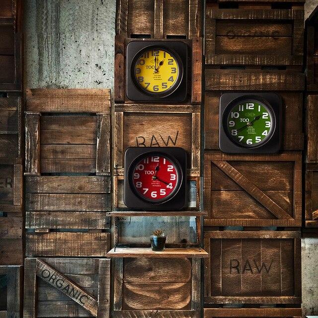 Vintage iron art clocks traffic lights creative wall clock crafts ...
