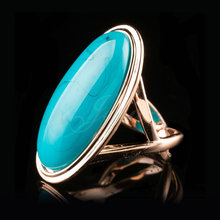 Jenia High Quality Unique Rose Gold Color Oval Blue Stone finger Ring for Women Jewelry XR337