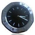 Increíble Decoración Moderna Reloj de Pared Wallclock Bisel Negro Dial de Plata Reloj de la Marca horloge mural con logo correspondiente