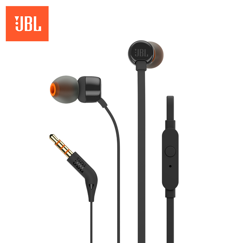 Earphone JBL T110 in-ear loppo metal bass earphones comfortable in ear noise cancelling earbuds 3 5 mm microphone hi res audio half in ear earphone