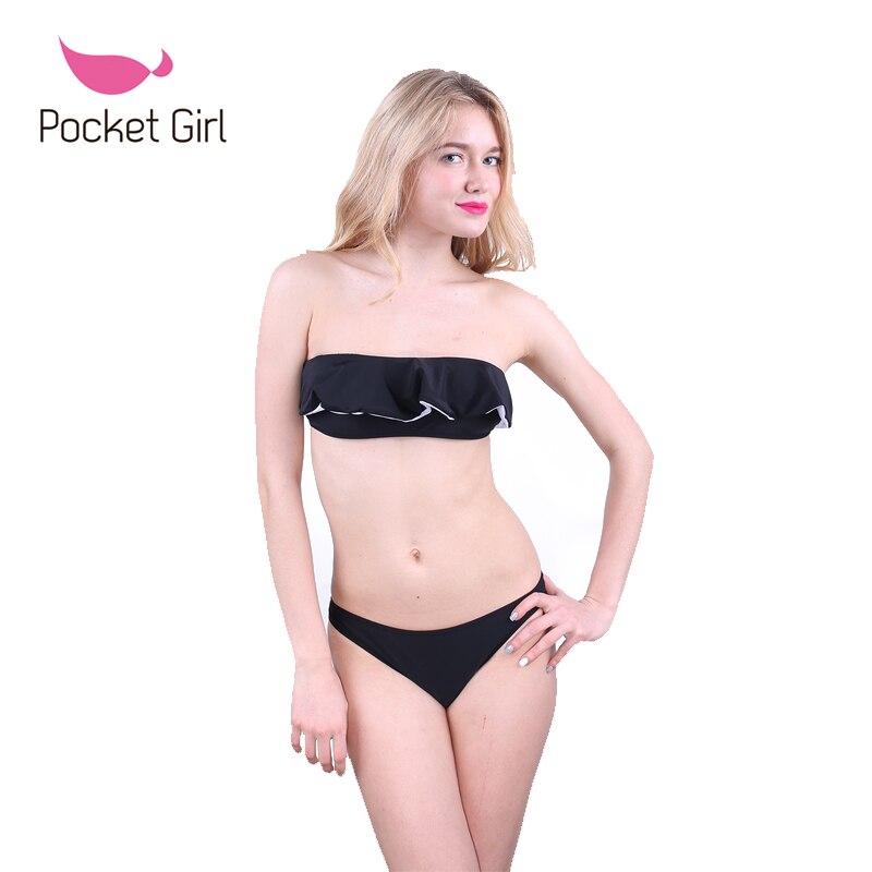 2016 Women Summer  Flounced Top Thong Bathing Suit  Bikini Swimwear Push Up Swimsuit Biquini Brazilian Vintage Maillot De Bain