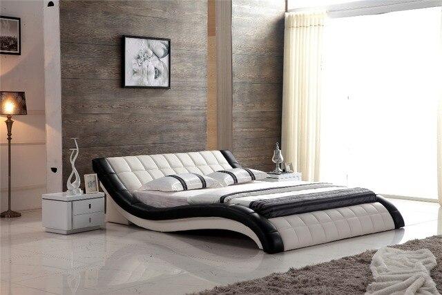 El rey tamaño hechos a mano moderno cama de cuero 0414 815 en Camas ...