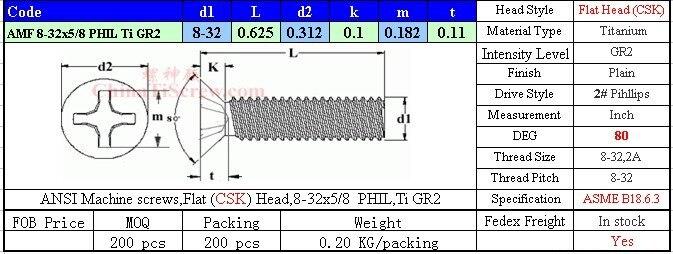 Титановые винты 8-32x5/8 плоская головка CSK 2# Phillips Driver Ti GR2 полированная 50 шт