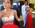 Cheap One Shoulder Beaded Bodice Chifon Long Red Prom Dress Gown 2017 Formal Evening Dress Graduation Party Dress Plus size