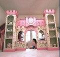 Роскошный европейский американский стиль принцессы замок кровать с лестницы, Горки, Книжный шкаф и играть место под