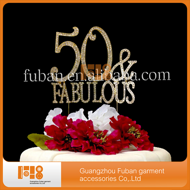 10pieceslotclear Rhinestone gold plating 50 FABULOUS 50th