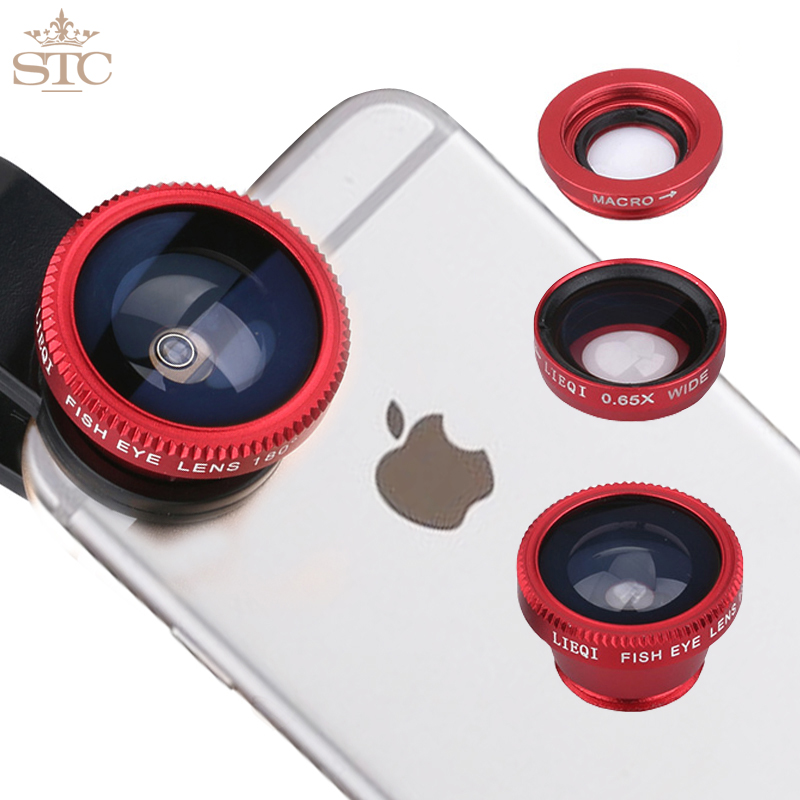 STC 2016 Universal Mobile Phone Lenses 3 in 1 Wide Angle Macro Fish Eye Lens For iPhone 5S 6 Samsung S5 S6 HTC M9 LG Sony Silver