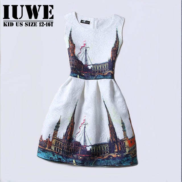 Girls Dresses Summer 2017 Dresses For Girls Of 12 Years Sleeveless Printed Big Size Party Dress Teenagers Girls Clothes Robe 16