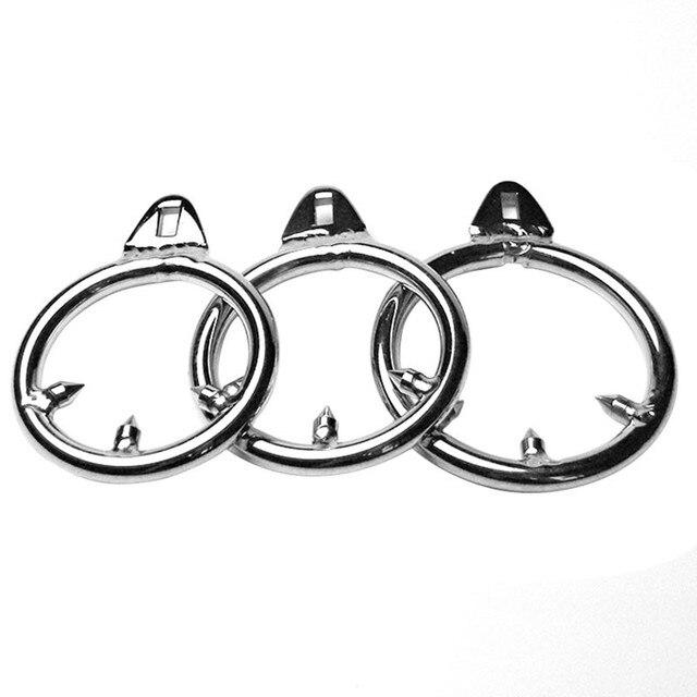3 tamaños macho castidad dispositivo Gallo Jaulas adicional púa anillo de pene de acero inoxidable anti erección anillo anti-derramamiento
