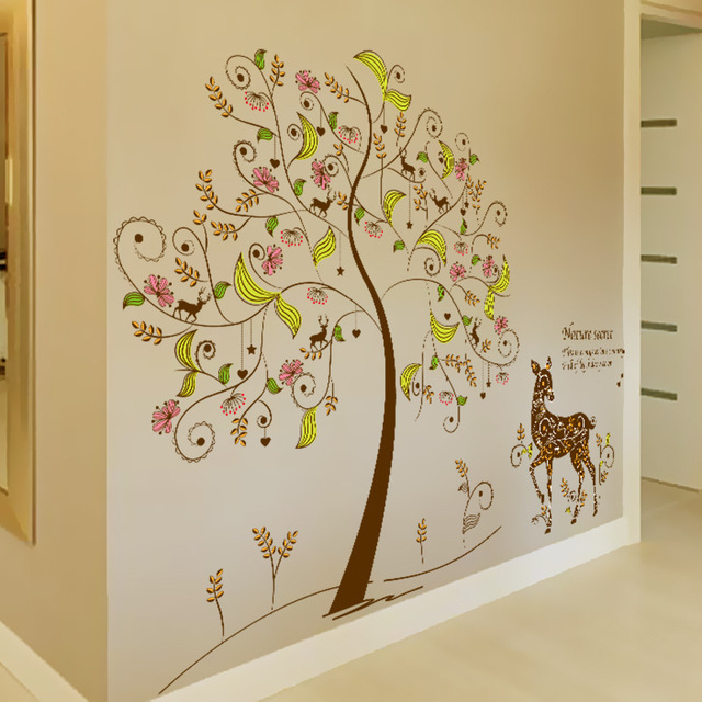 US $7.7 |Bunte Geheimnis Baum Wandkunst Wand Decor Giraffe unter dem Baum  Wandtattoo Kinderzimmer Kindergarten Wand Applikation Poster in Bunte ...
