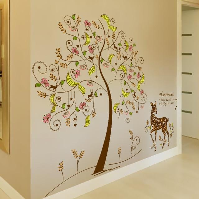 Colorful Secret Tree Wall Art Mural Decor Giraffe under the Tree ...