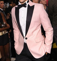 Custom Made Pink Tuxedos Slim Fit Mens Wedding Suits Formal Groom Mens Formalwear
