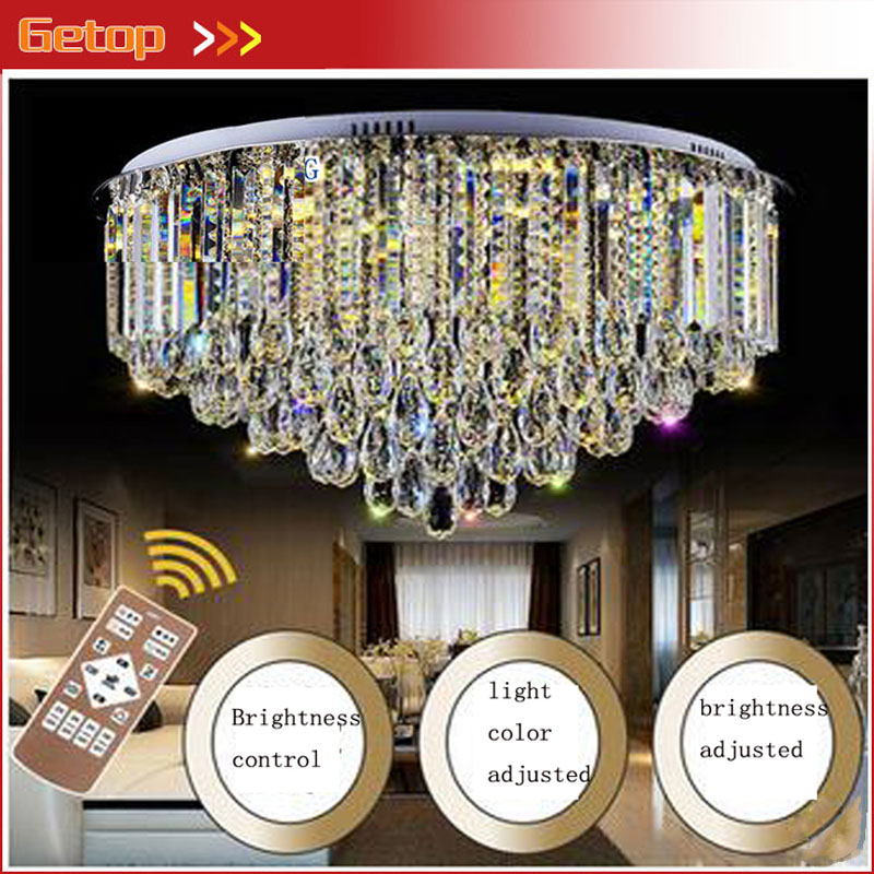 ZX Modern New Luxury K9 Crystal Chain LED Ceiling Lamp Lustre Circular LED Chip Light Fixture Livingroom Restaurant Bedroom Hall zx modern k9 crystal chandelier arched rectangle ceiling lamp led fixture lighting bar light crystal restaurant curtain lights