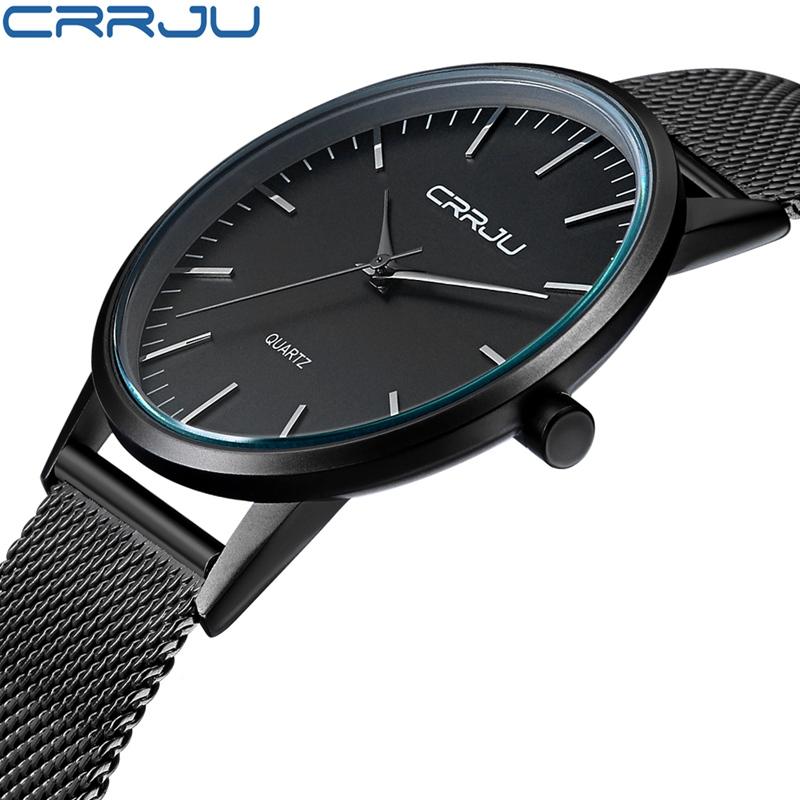 Prix pour CRRJU Hommes de Quartz Montre Bracelet En Acier Inoxydable D'affaires Montre Horloge Mâle Masculino Étanche Ultra Mince Robe Montre-Bracelet