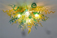 New Designed Energy Saving Decorative Glass LED Crystal Chandelier Yellow Green White
