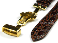 24 мм золото дважды щелкните баба пряжки браун крокодил шаблон из естественной кожи ремейк полосы ремень s110gc